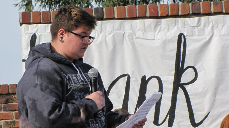 Senior Skylar Henry, who now attends Boynton, spoke about his experiences as a trans man at the 2017 Winter Wishes rally on Dec. 9.