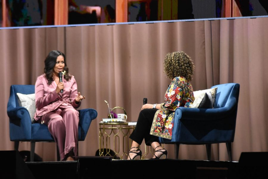 Photo: Michaela Edlin Former First Lady Michelle Obama speaks at the SAP Center accompanied by NPR host Michele Norris.
