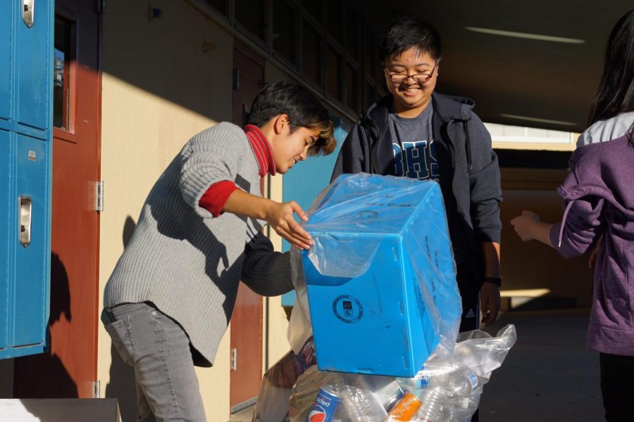 Volunteers from the SPARE Club empty recycling bins every Thursday.  The groups has recently adopted Branham Park nearby, helping with weeding and beautification.  The San Jose City Council in early December recognized the group for its efforts.