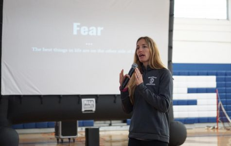 Photo: Sarah Sabawi Saying that the best things in life are on the other side of fear, weight training and P.E. teacher Christie Henebry encouraged seniors to face their own fears in order to achieve their goals on Jan. 31. It was the second class-specific What's Your Why? of the year. The aim of the campaign is for students to find their purpose, personally and scholastically.
