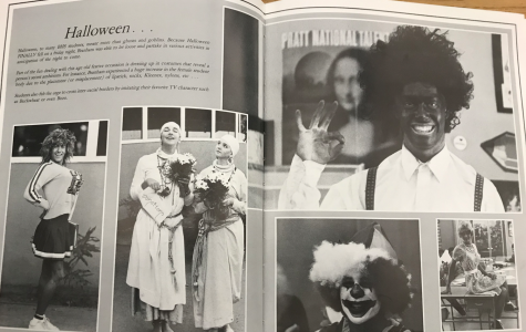 The Halloween spread in the 1987 Ursa Major yearbook featured a prominent photo of a student in blackface.