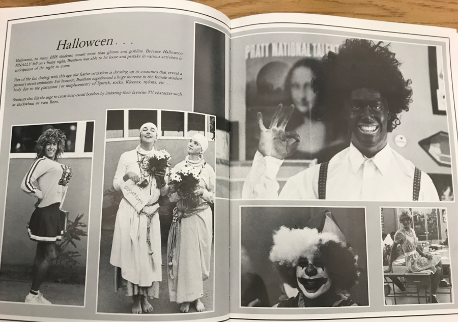 The+Halloween+spread+in+the+1987+Ursa+Major+yearbook+featured+a+prominent+photo+of+a+student+in+blackface.