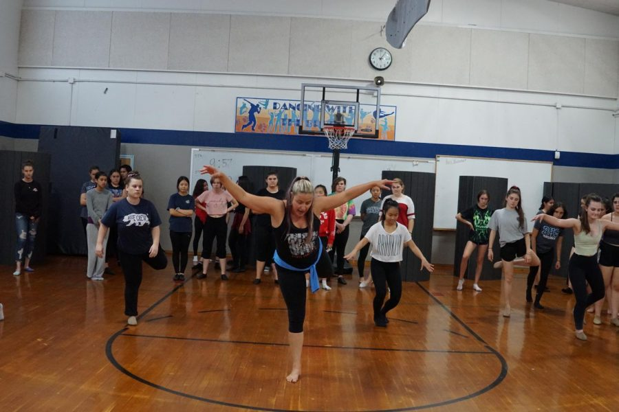 Dance+and+art+teacher+Eileen+Bertron+shows+off+a+move+to+her+sixth-period+dance+class%2C+which+accommodates+Advanced%2C+Intermediate+and+Beginner+levels.+Photo+credit%3A+Genevieve+Nemeth%2FBear+Witness