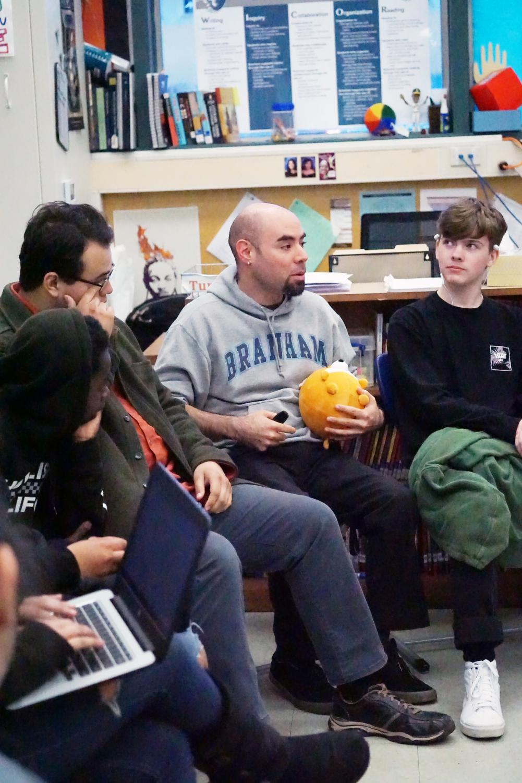 English teacher Carl Ponzio leads a community circle during tutorial in April. Ponzio advocates student wellness in his classroom.