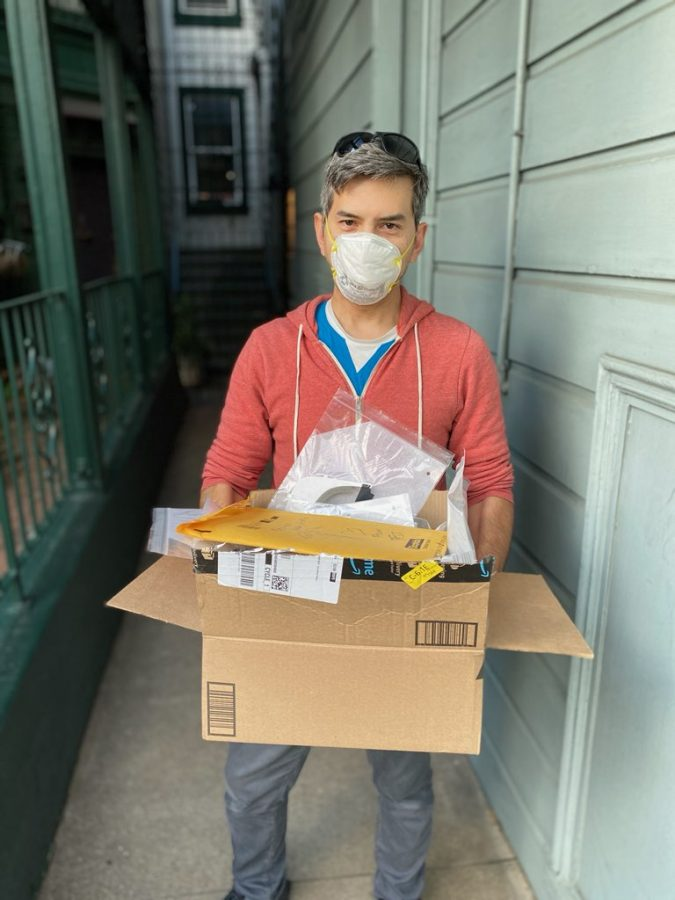 Bay Area scientist Santani Teng makes a delivery of face shields to the Summit Emergency Department in Oakland. Teng is leading a grassroots effort in the Bay Area to get face shields to hospital workers.
