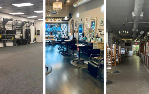 From left, Method 3 Fitness Studio, Salon 383, and 4th Street Pizza Co. after their doors closed.