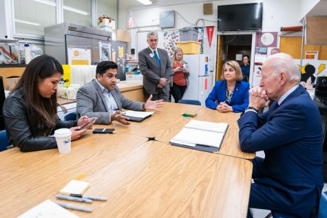 Patel, second from left, and his colleges discussing an interview with Biden in Reno, Nevada in January 2020 (courtesy of Biden for President).